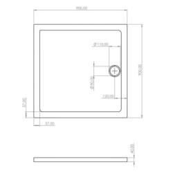 Shower tray Acrylic bathtub Bathroom Flat Acrylic Square 90 90 - SW-30904 - 4
