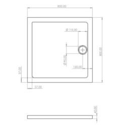 Shower cup Acryl 80x80x4 cm - SW-30905 - 4