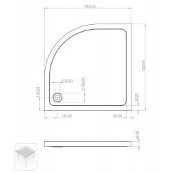 Shower tray acrylic bathtub flat acrylic quarter circle 100 100 15 - TO818 - 2