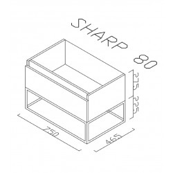 Sharp bathroom cabinet 80 cm - SHP080.07 - 2