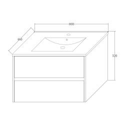 Hayat Bathroom Base cabinet 80 cm white glossy + sink - KEY2428-80 - 4