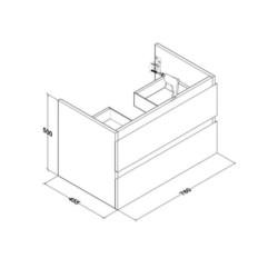Sally Bathroom Base cabinet 80 cm white high gloss - SLY080.02A - 5