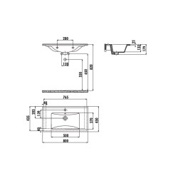 Creavit Keramikwaschbecken Waschtisch 45x80cm - SU080-00CB00E-0000 - 1