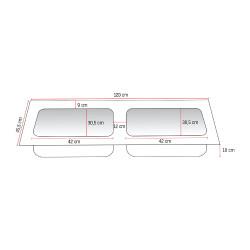 Solid Surface Doppel- Waschbecken Waschtisch 120cm - BETA120 - 1
