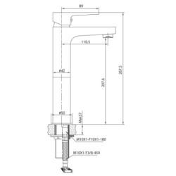 Creavit Sharp hohe Waschbecken Armatur chrom - SR6500 - 1