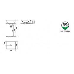 Creavit Keramikwaschbecken rechtechikg weiß ohne Hahnloch 50x40cm - TP140-00CB00E-0000 - 1