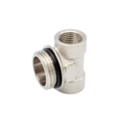 """Brass tail T-distributor nickel plated 1 """"AG x 1/2"""" IG x 1/2 """"AG - BLR431 - 0"""