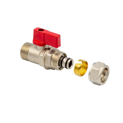 """Ball valve with clamping ring 1/2 """"AG 16 x 2 red - BLR440 - 0"""