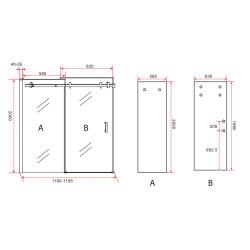 Aloni niche door sliding door black matt 8 mm (BXH) 1200 x 2000 mm - CR-045A12 - 5