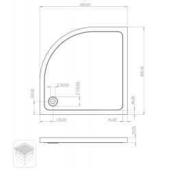 Duschtasse Acryl Viertelkreis 80x80x15 - TO813 - 4