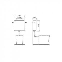 Belvit Topazio Curry Spülkasten Aufputzspülkasten Start-Stopp-Funktion 3/9L - BV-AP6003 - 7
