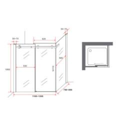 Aloni shower cabin sliding door + side wall clear glass 8 mm (TXBXH) 800 x 1200 x 1950 mm - CR045F-80120 - 6